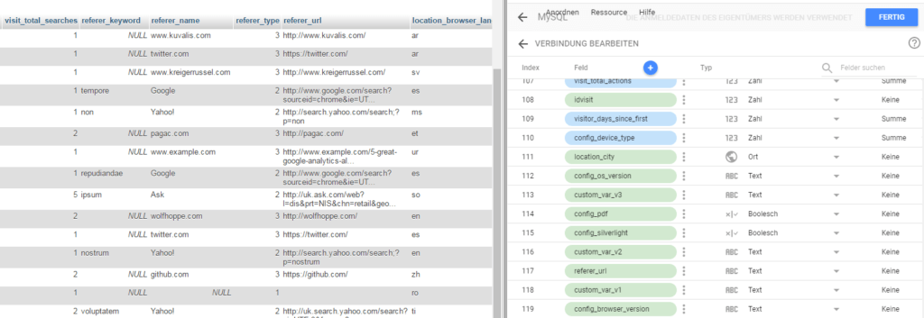 Compare the MySQL table with Data Studio fields