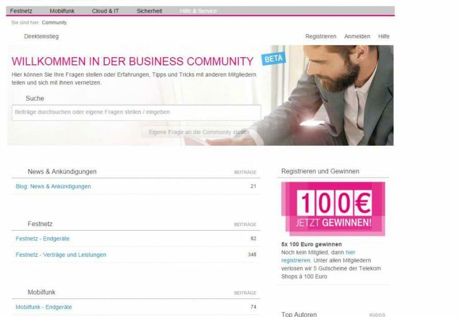Website Telekom Business Community