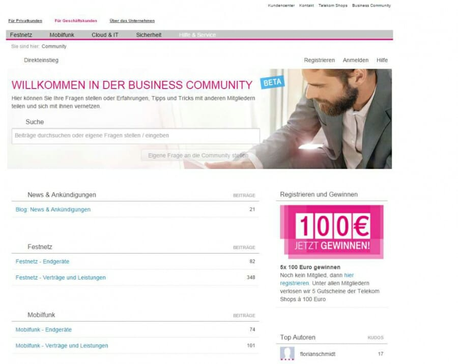 Website Telekom Business Community