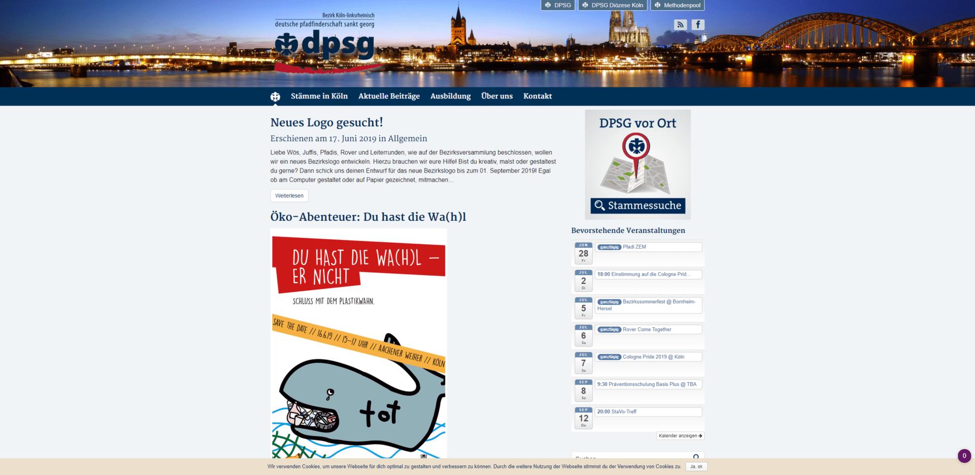 Website DPSG Bezirk Köln