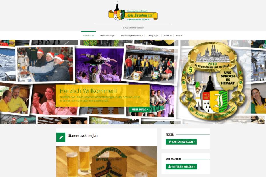 Website Karnevalsgesellschaft die Isenburger