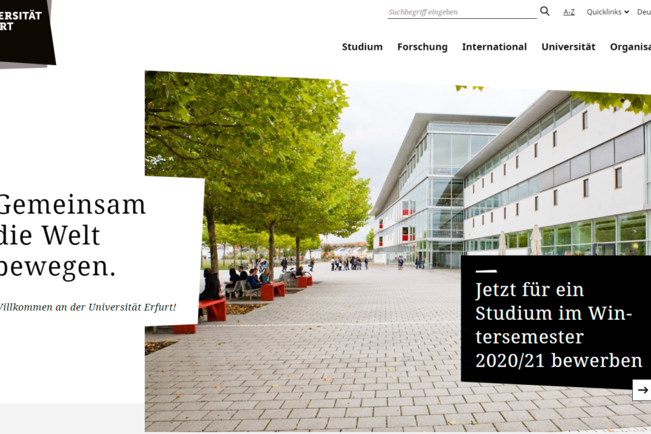 Screenshot: Website Uni Erfurt